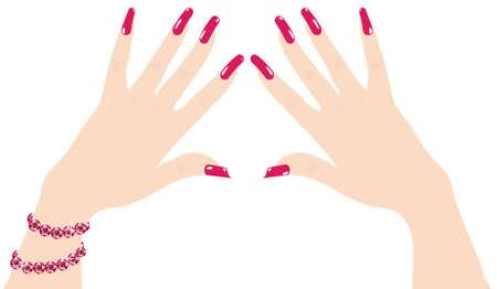 mani di donna con unghie rosse e bracciale rubino