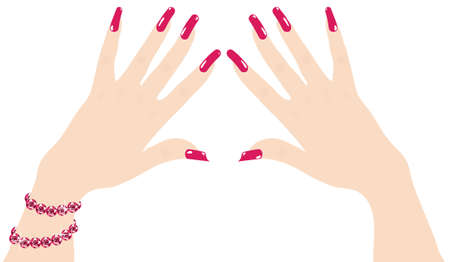 woman hands with red fingernails and ruby bracelet