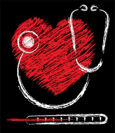 schizzo medico del cuore, stetoscopio e termometro Vettoriali