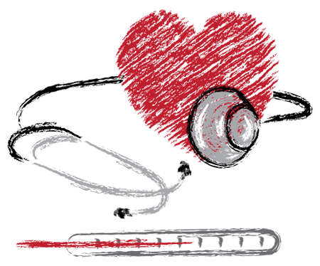 medical sketch of heart, stethoscope and thermometer