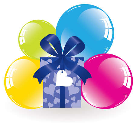 event party festive: bunch of colorful balloons and a gift box
