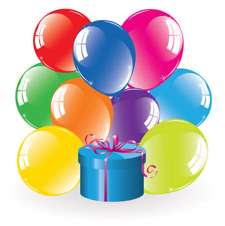 bunch of colorful balloons and a gift box Vector