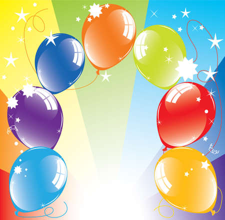 event party festive: colorful balloons and light-burst Illustration