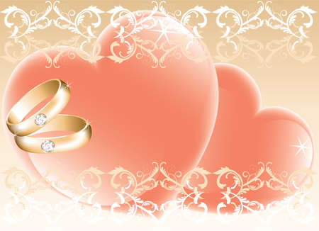 wedding theme with golden rings and hearts Vector