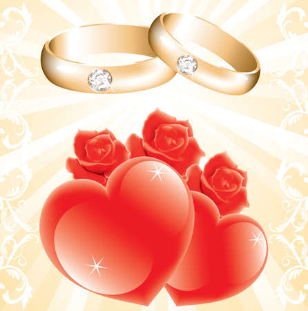 wedding theme with golden rings, roses and hearts Vector