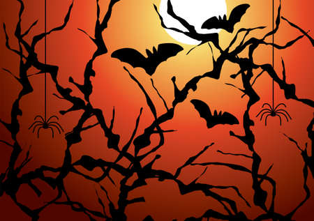 thorn bush: blackthorn branches, bats and spiders