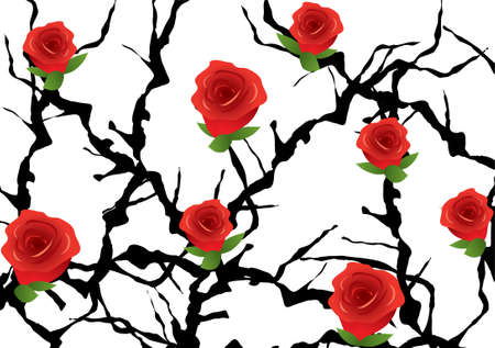 blackthorn bush with roses Stock Vector - 9928943