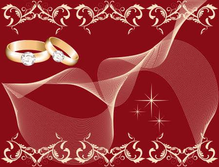 wedding theme with golden rings, vector Stock Vector - 10036509