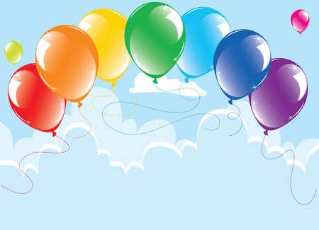 mazzo vettore di palloncini colorati nel cielo