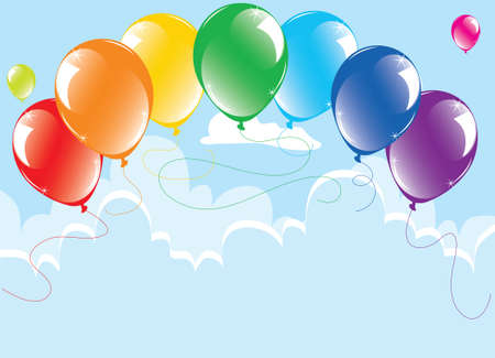 vector bunch of colorful balloons in the sky Stock Vector - 10036511