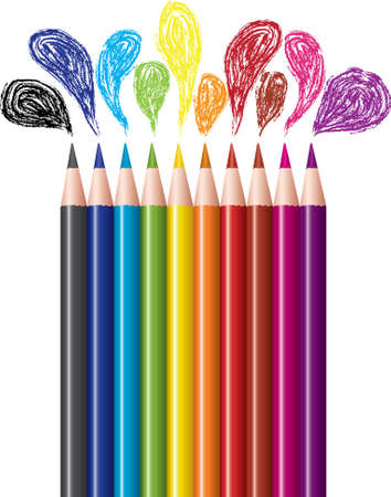 art supplies: vector set of colored pencils and bubbles