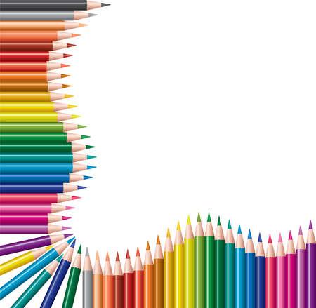 onderwijs: vector frame van kleurpotloden