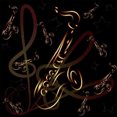 saxofon: saxofón estilizada sobre fondo abstracto de vectores