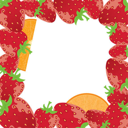 vector strawberry frame with oranges Vector