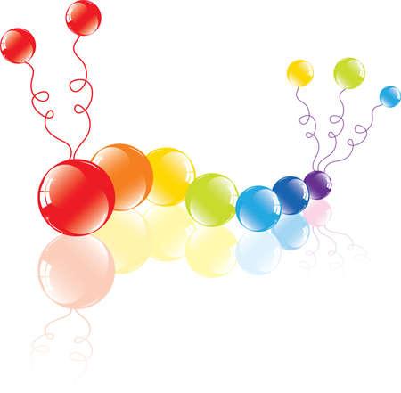 bruchi: illustrazione vettoriale di palloncini colorati sul pavimento
