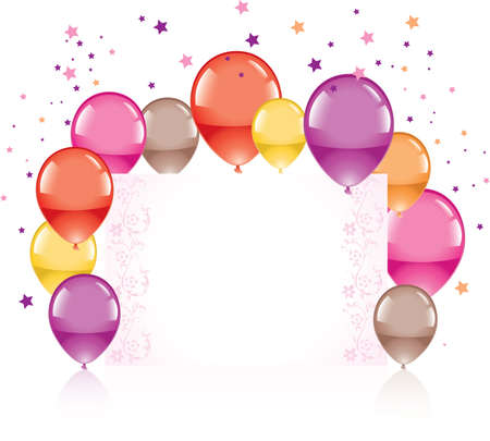 balloon border: Festive colorful balloons and greeting card