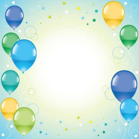 Festive colorful balloons  Illustration