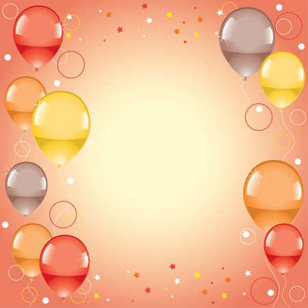 orange swirl: Festive colorful balloons  Illustration