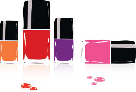 nail care: Collection of nail polish Illustration