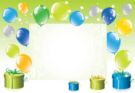 isolated background objects: Colorful festive balloons and gift boxes