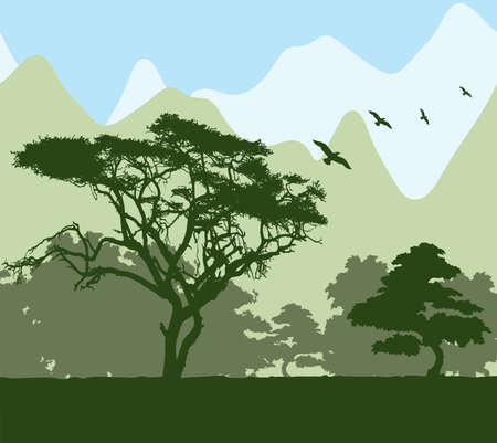 twilight: Forest and mountains Illustration