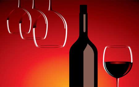 botella de licor: Copas de vino y una botella Vectores