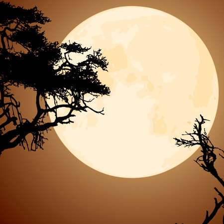 vector big yellow moon and silhouettes of tree branches Stock Vector - 10691581