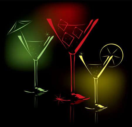 night bar: vasos de c�ctel vector Vectores