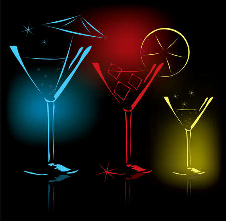 vector cocktail glasses Stock Vector - 10691585