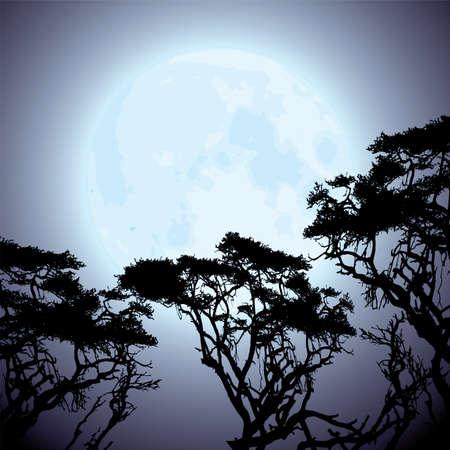 vector gran luna azul y las siluetas de ramas de los árboles