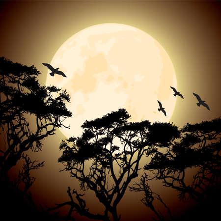 vector grandes de color amarillo luna y las siluetas de las ramas de los árboles