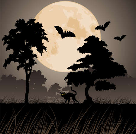 scary forest: vector big yellow moon and silhouettes of trees