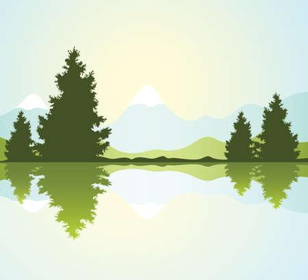 sagome vettoriali di pelliccia alberi con la riflessione in acqua e le montagne