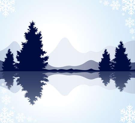 vector silhouetten van de bont-bomen met reflectie in bevroren water en bergen