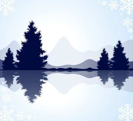 frozen lake: vector silhouettes of fur-trees with reflection in frozen water and mountains