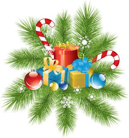 fur tree: vettoriale fur ramo di albero, decorazioni Natale e regali Vettoriali