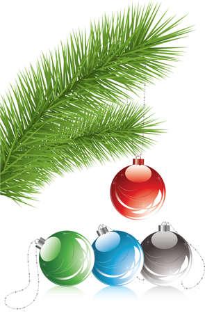 fur tree: vettoriale fur ramo di albero e decorazioni natale