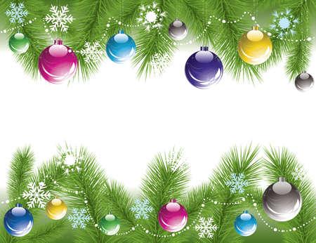 confine vettore di rami di albero di Natale con decorazioni