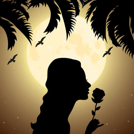 nude pretty girl: vector silhouette of a girl with a flower under palm tree