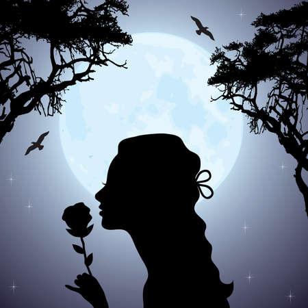 sagoma vettoriale di una ragazza con un fiore sotto l'albero Vettoriali