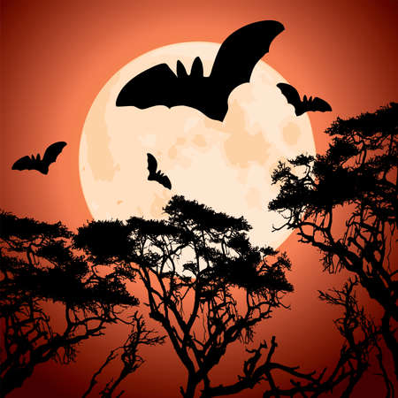 vector big red moon, trees and bats Stock Vector - 11083769