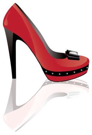 vector red high heel shoe Stock Vector - 11083763