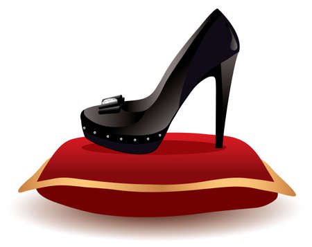 red pillows: vector shoe on the pillow