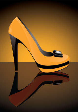 vector yellow shoe with reflection Vector