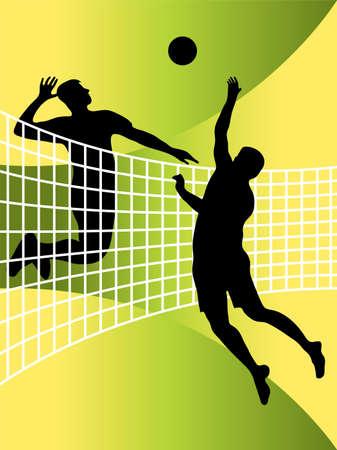 pelota de voley: Vector ilustración abstracta de jugadores de voleibol Vectores