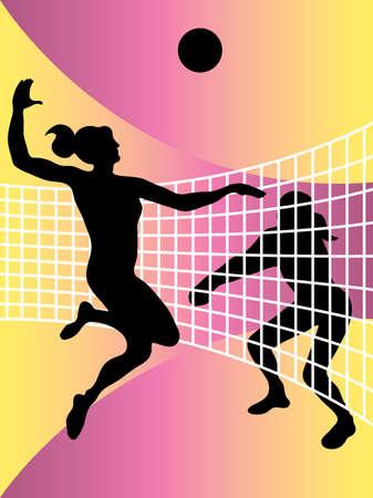 pelota de voley: Resumen de vectores de ilustraci�n de los jugadores de voleibol