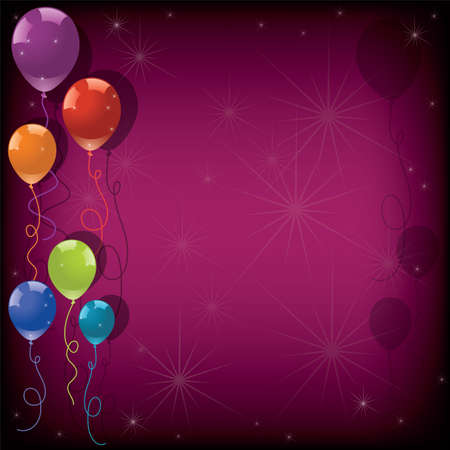 vector festive colorful balloons and stars on pink background. eps10