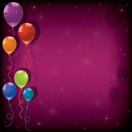 vettore palloncini festa colorati e stelle su sfondo rosa. eps10