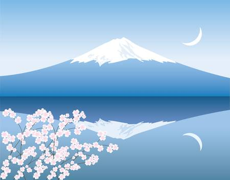 vector Mount Fuji, moon and branches of sakura Stock Vector - 11664027
