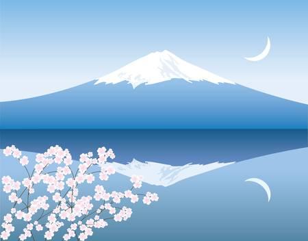 montagna: vettore di Monte Fuji, la luna e le succursali di sakura